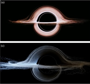 Interstellar's accretion disc, with and without Doppler shift.