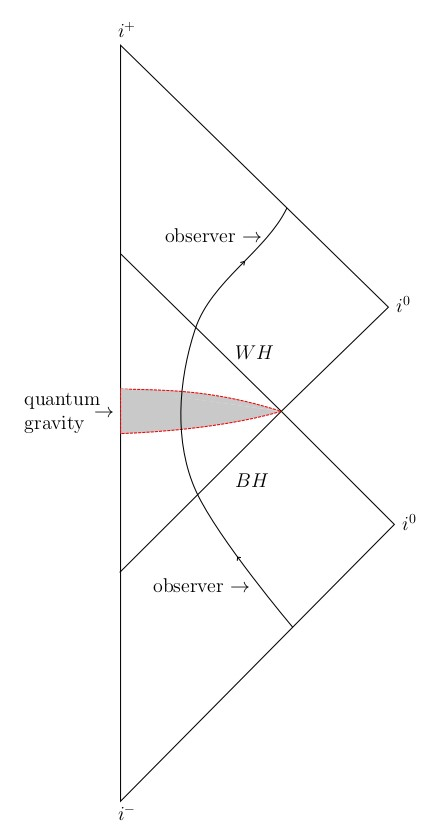 black and white hole twins connected by quantum gravity cqg